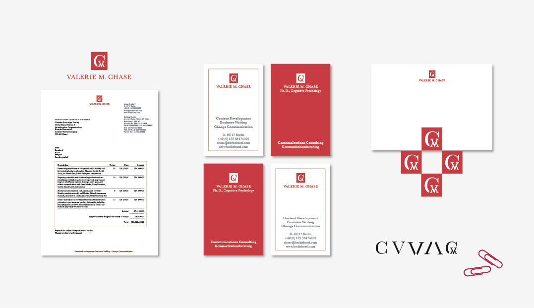 Logo, Visitenkarte, Geschäftspapiere für eine Kommunikationsexpertin in englischer Sprache